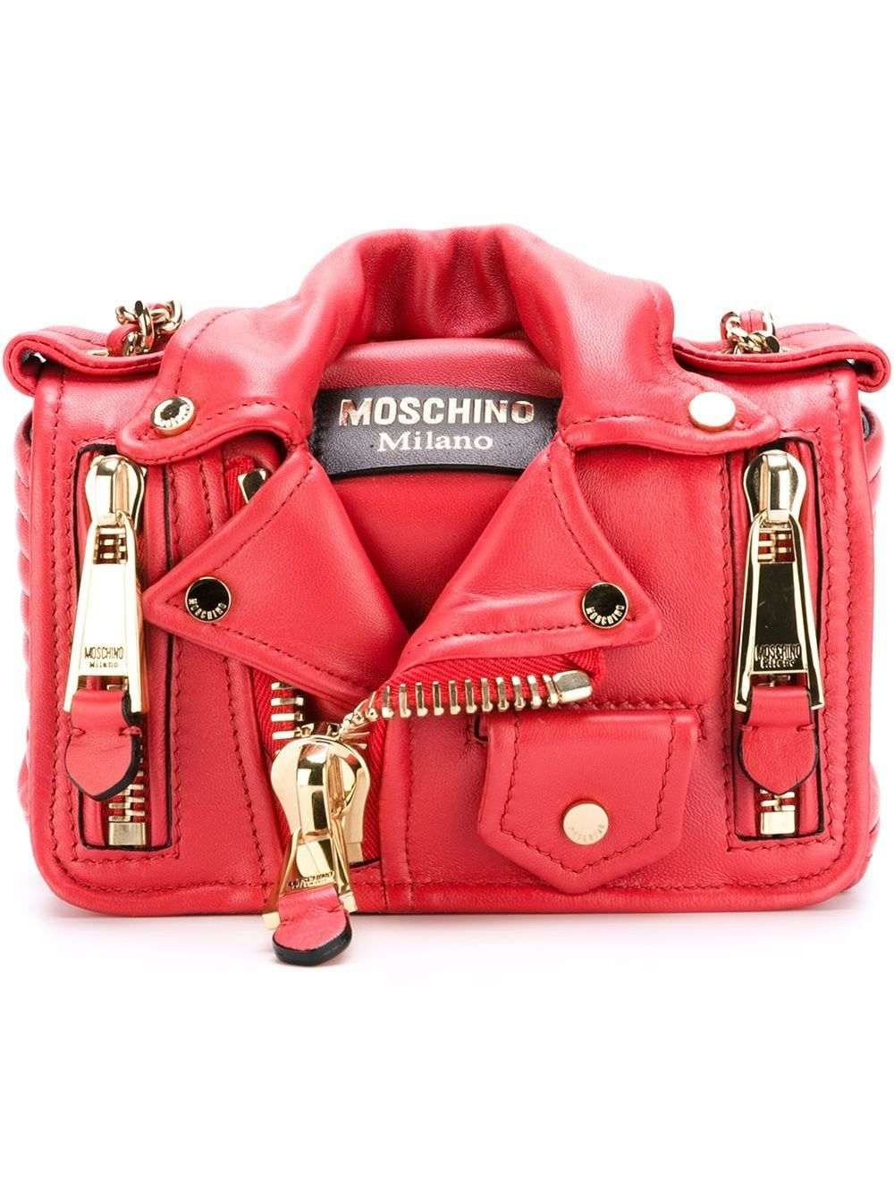 Moschino Leathers MOSCHINO WOMEN'S RED LEATHER SHOULDER BAG