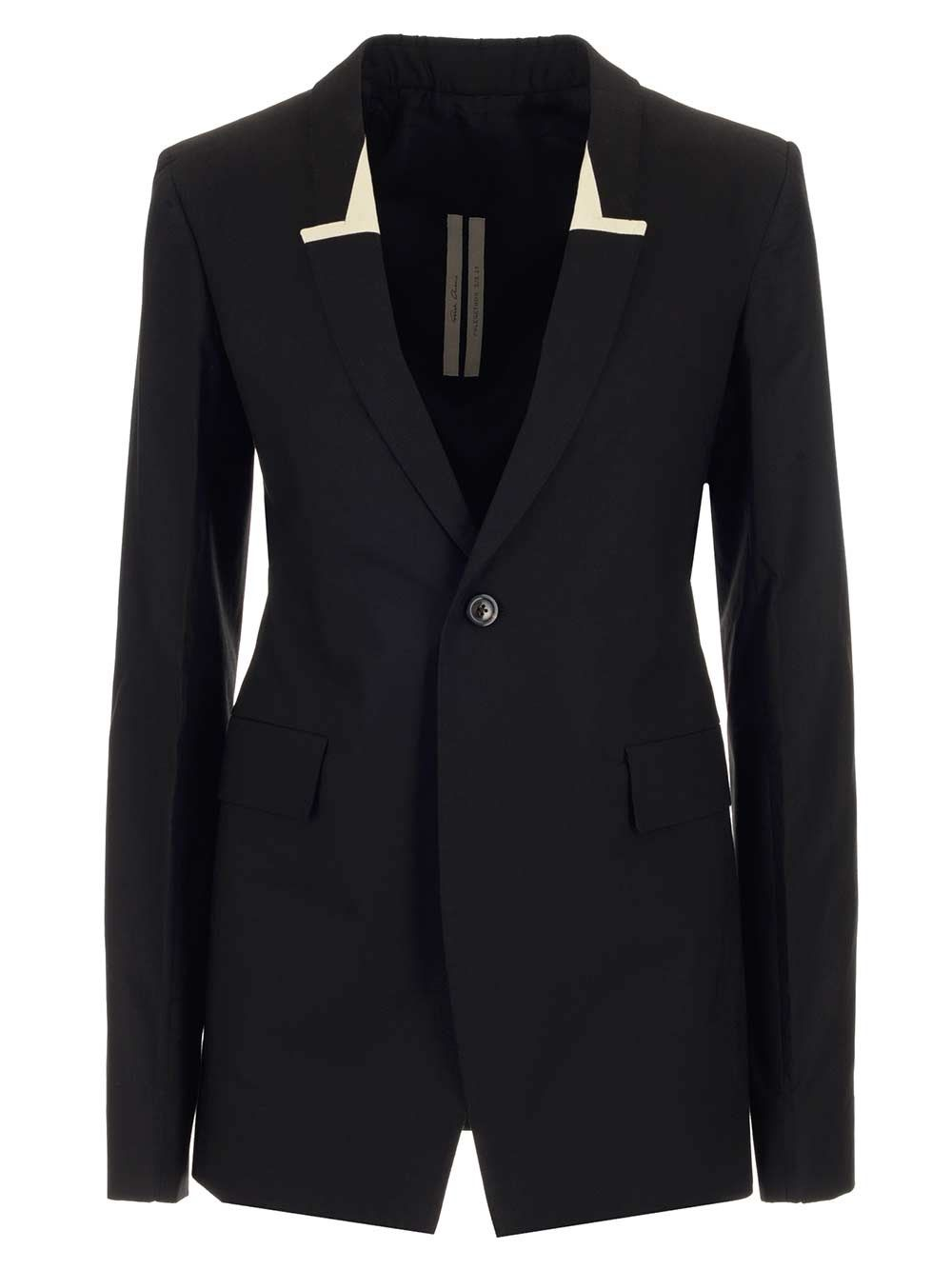 Rick Owens RICK OWENS WOMEN'S BLACK COTTON BLAZER