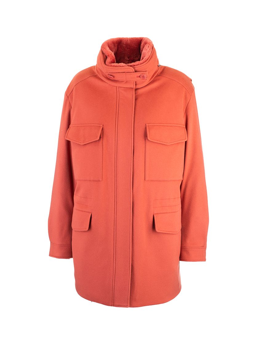 Loro Piana LORO PIANA WOMEN'S ORANGE CASHMERE COAT
