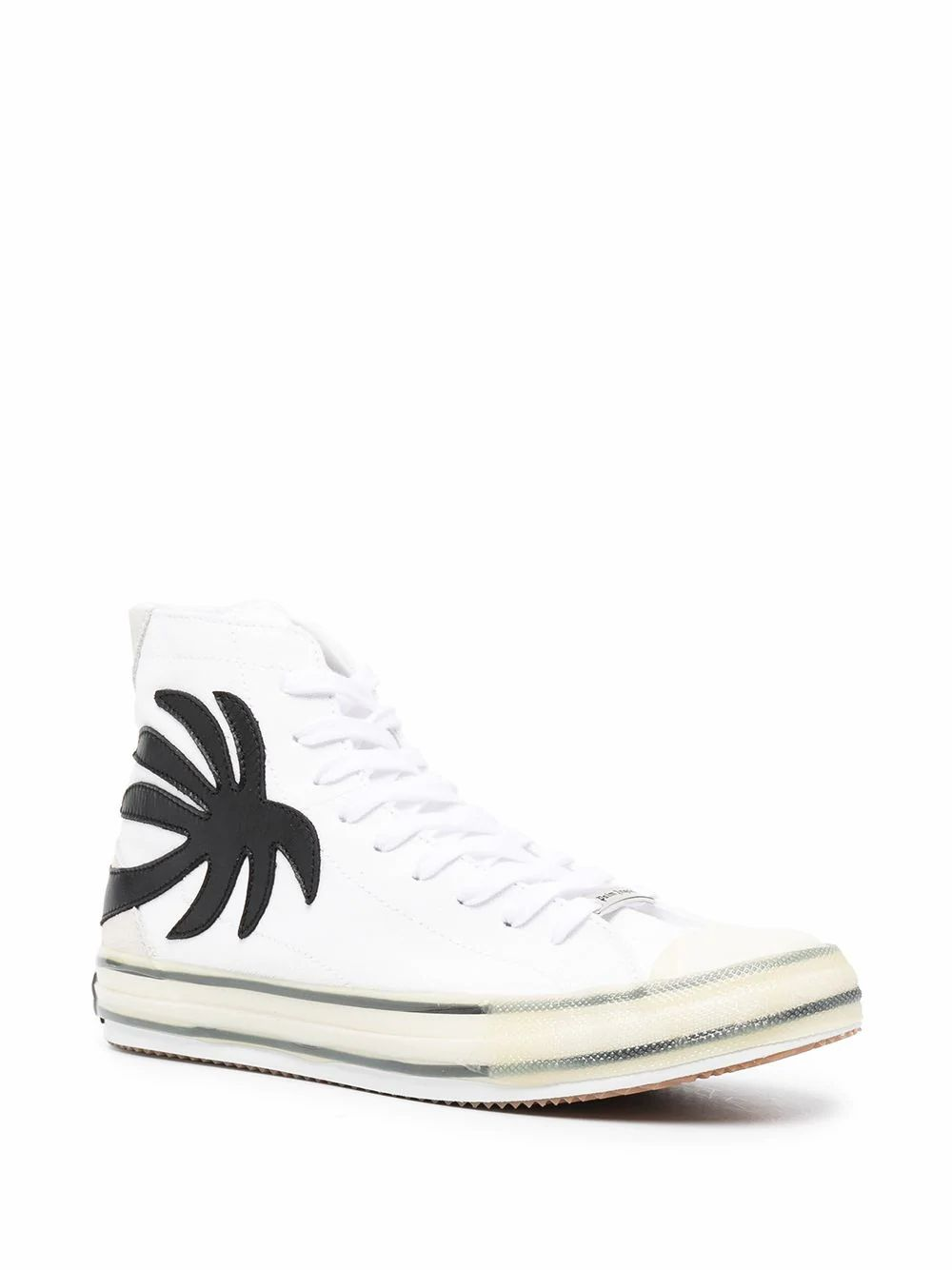 PALM ANGELS Leathers PALM ANGELS MEN'S WHITE COTTON HI TOP SNEAKERS