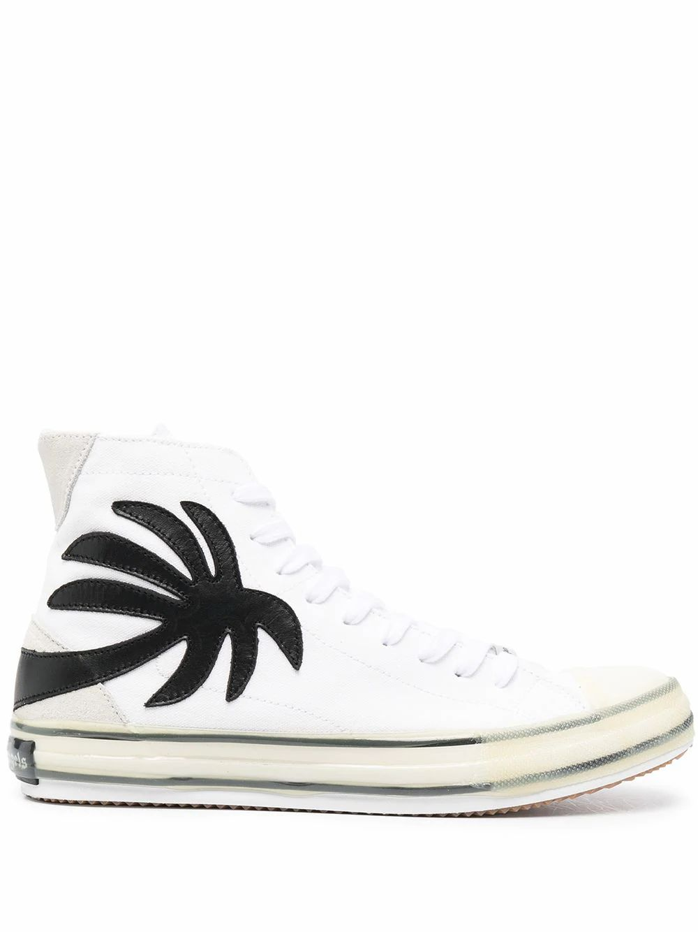 Palm Angels PALM ANGELS MEN'S WHITE COTTON HI TOP SNEAKERS