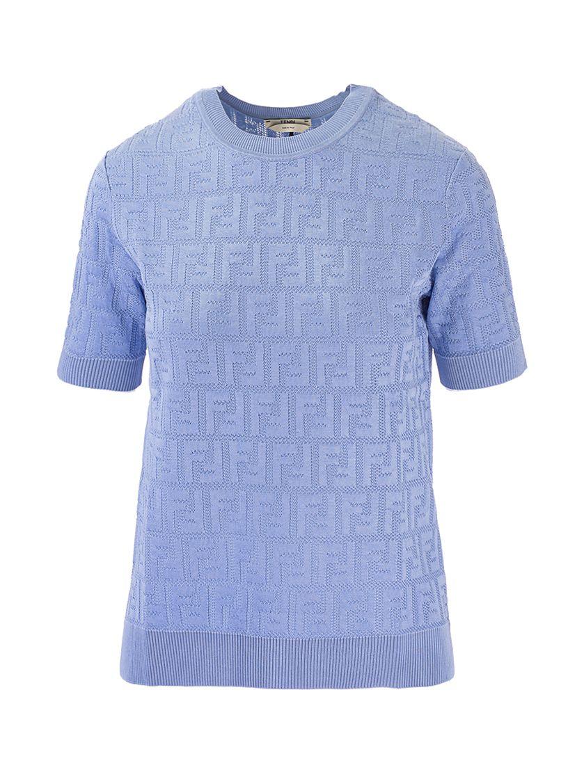 Fendi Cottons FENDI WOMEN'S LIGHT BLUE OTHER MATERIALS T-SHIRT