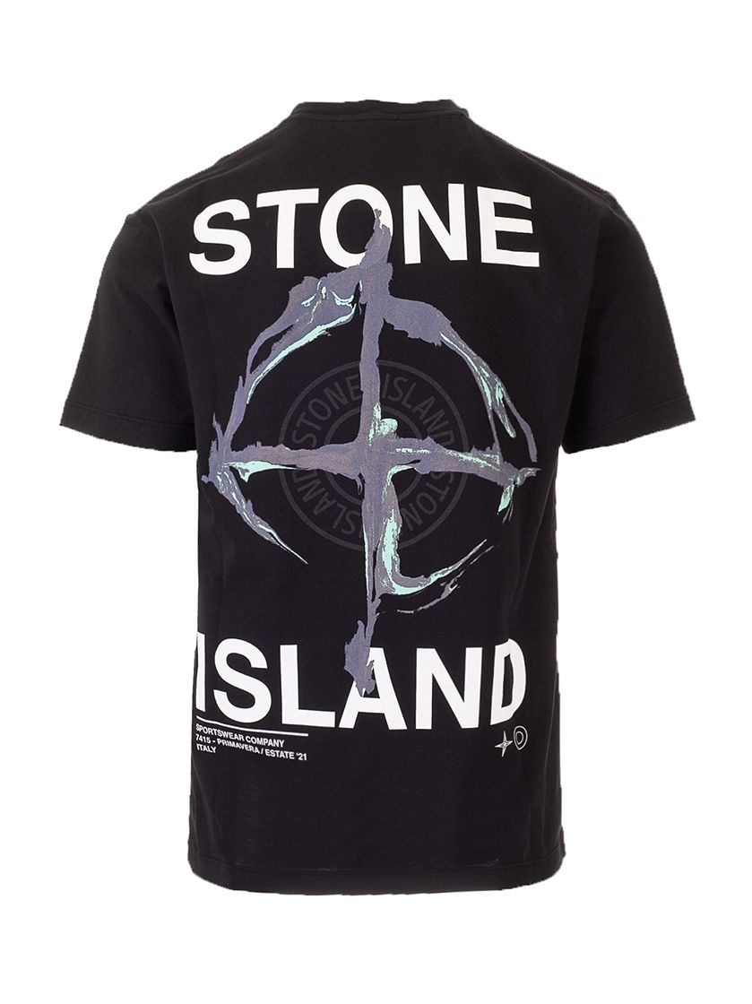 STONE ISLAND T-shirts STONE ISLAND MEN'S BLACK OTHER MATERIALS T-SHIRT