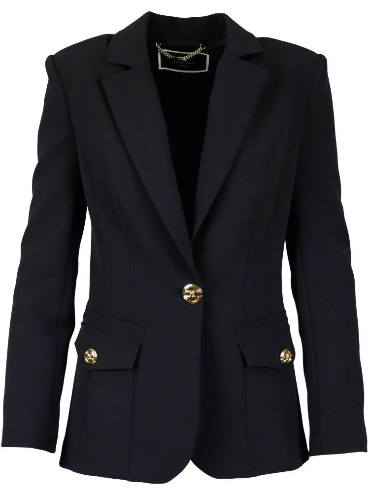 Elisabetta Franchi Jackets ELISABETTA FRANCHI WOMEN'S BLACK OTHER MATERIALS JACKET