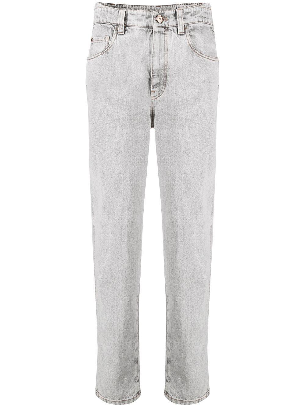 Brunello Cucinelli Straight jeans BRUNELLO CUCINELLI WOMEN'S GREY COTTON JEANS