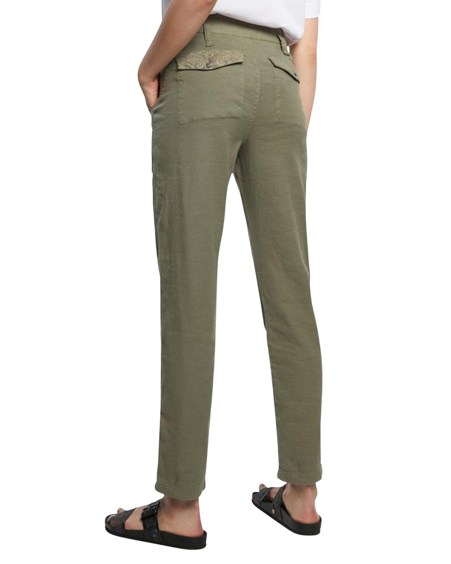 DESIGUAL Cottons DESIGUAL WOMEN'S GREEN COTTON PANTS