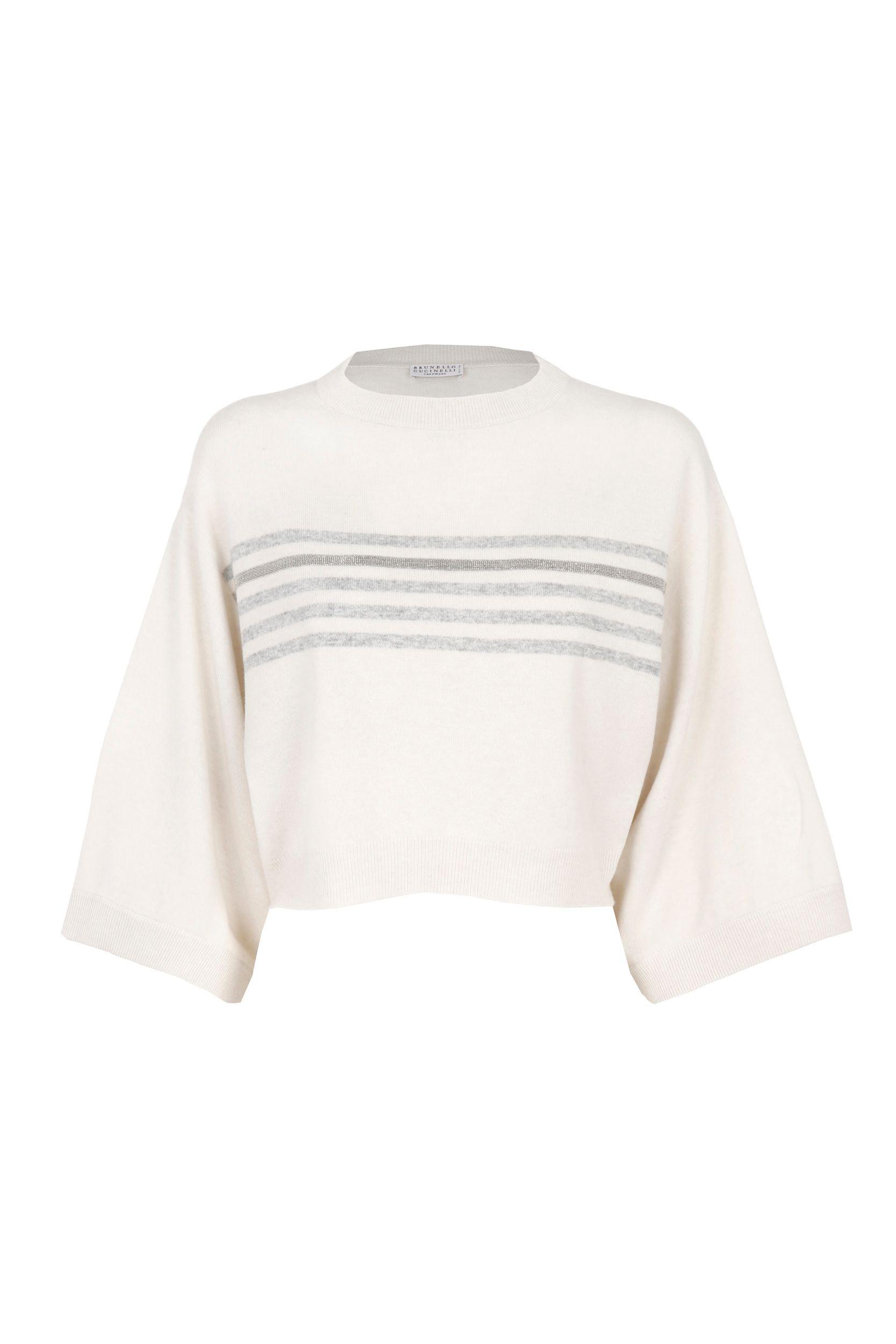 Brunello Cucinelli Wools BRUNELLO CUCINELLI WOMEN'S WHITE WOOL SWEATER