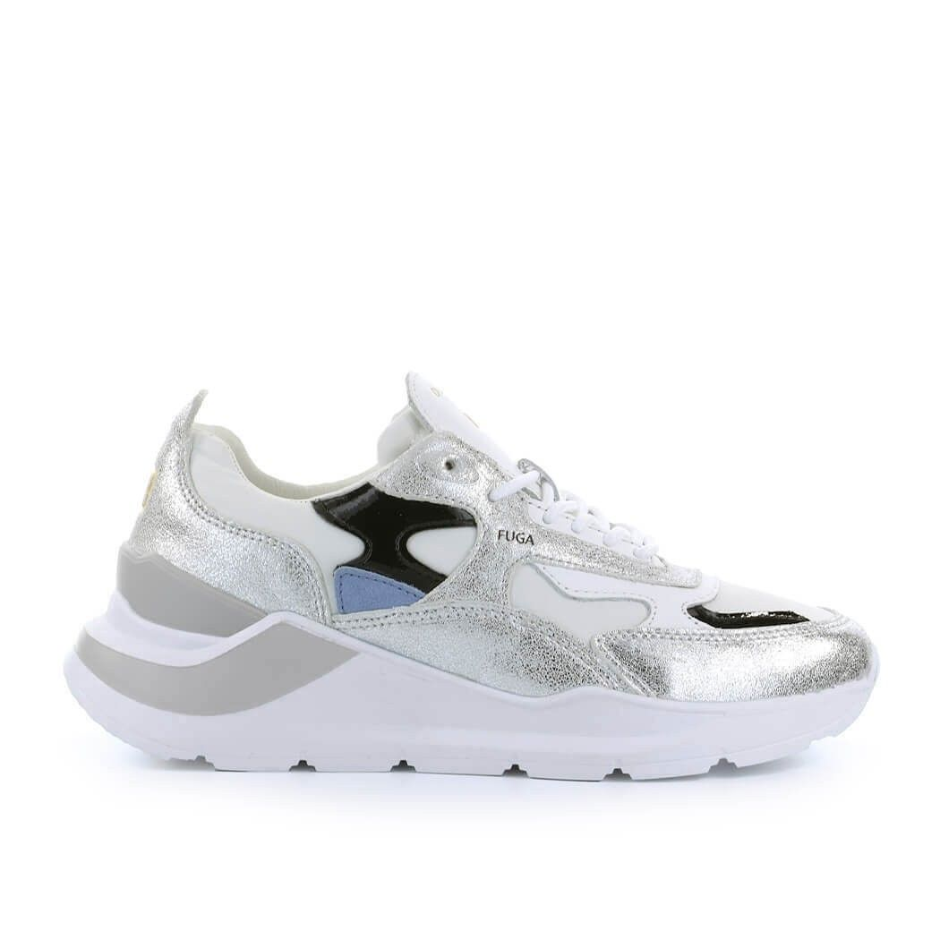 D.a.t.e. Leathers D.A.T.E. WOMEN'S SILVER LEATHER SNEAKERS