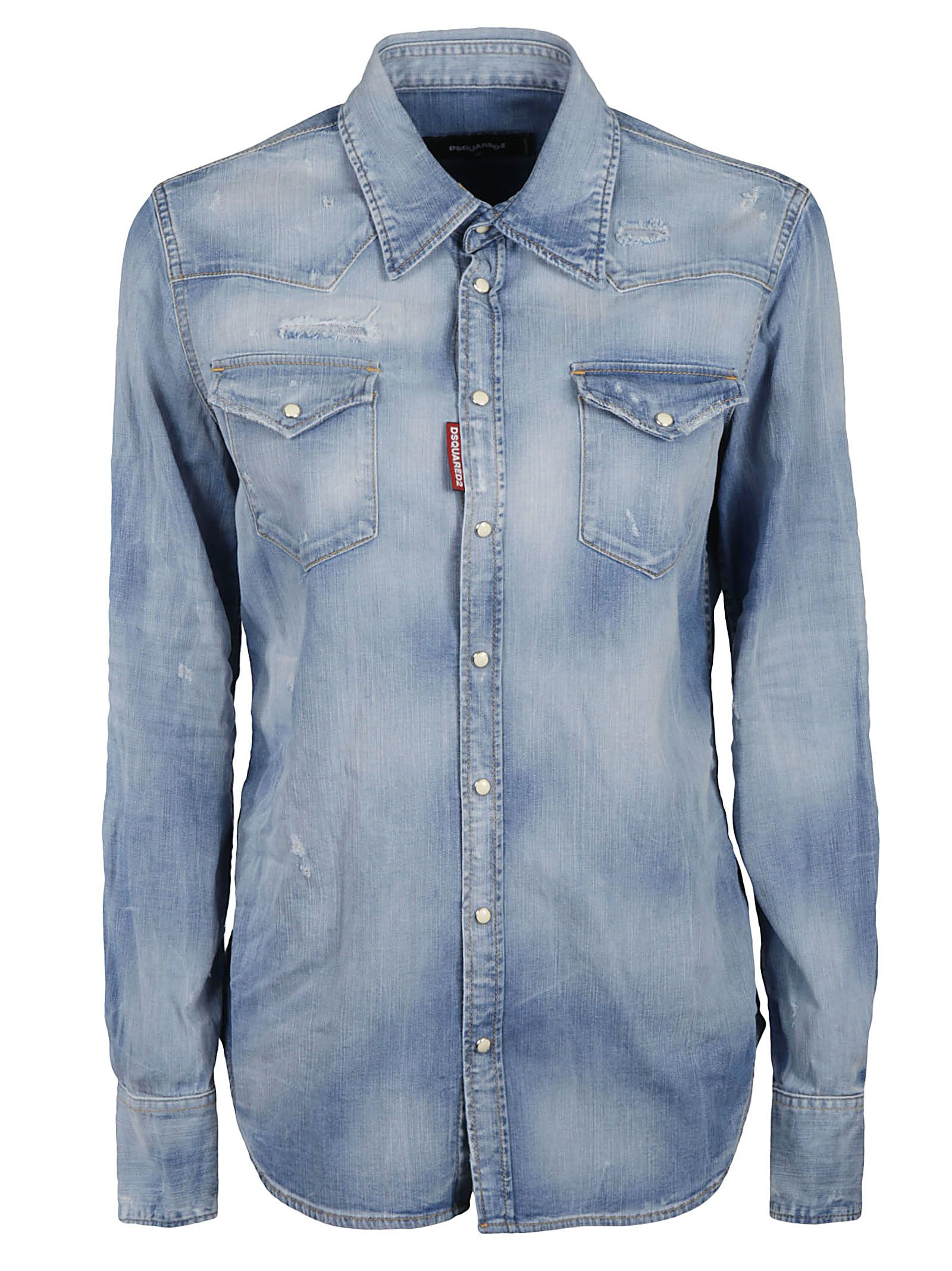 Dsquared2 Cottons DSQUARED2 WOMEN'S BLUE OTHER MATERIALS SHIRT