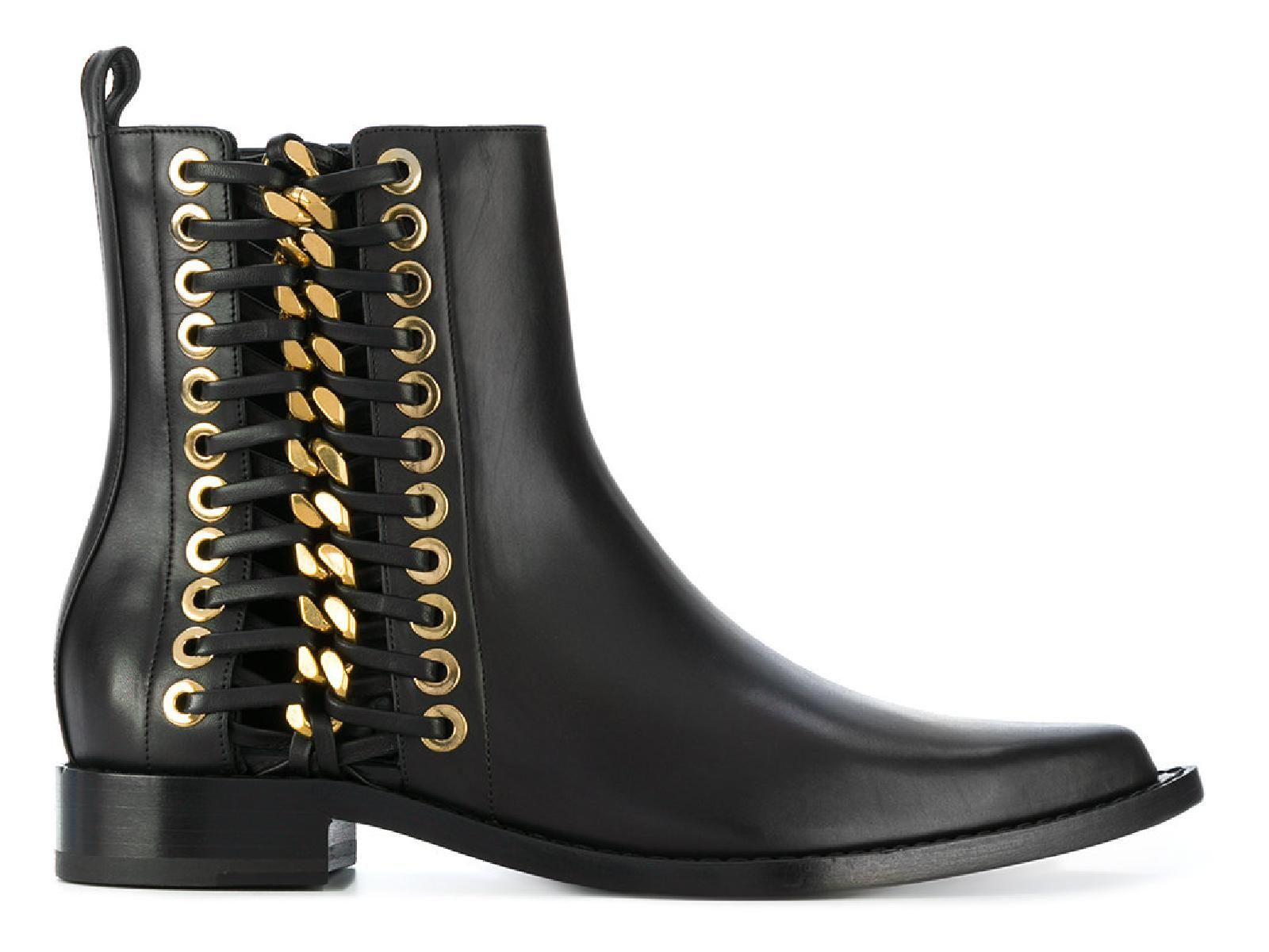 ALEXANDER MCQUEEN BLACK LEATHER ANKLE BOOTS,493542WHR531088