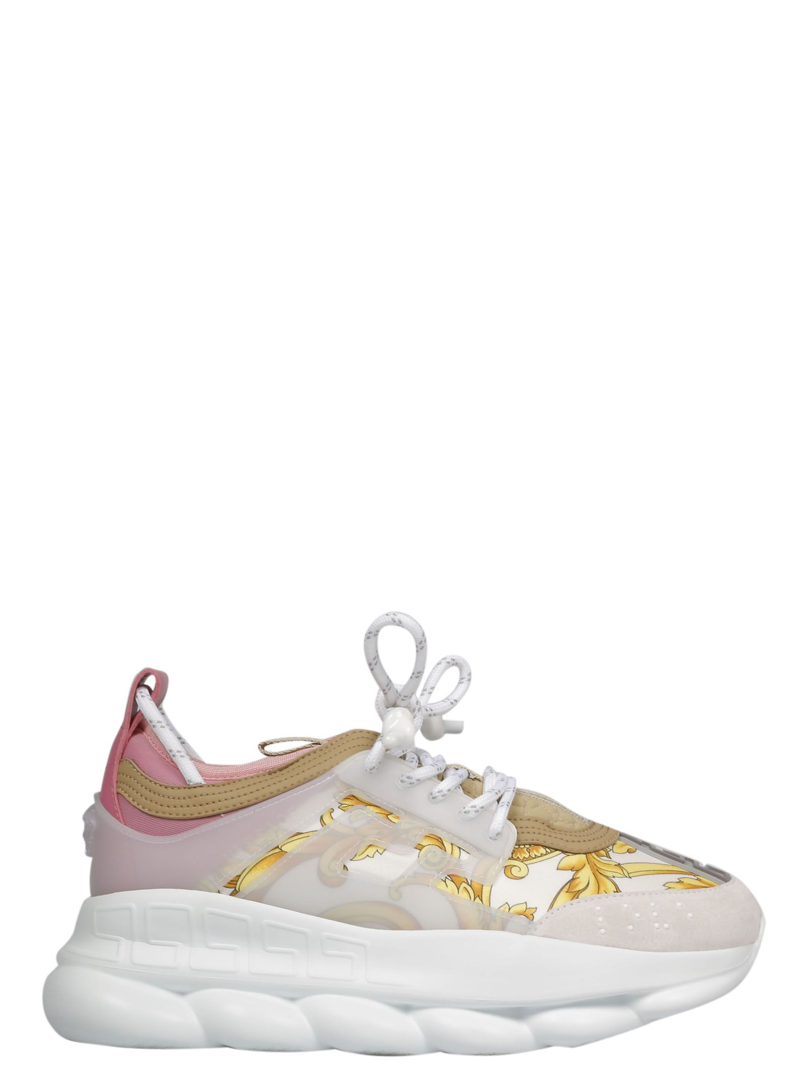 edc059f5f Versace Chain Reaction Printed Canvas, Neoprene And Suede Platform Sneakers  In White