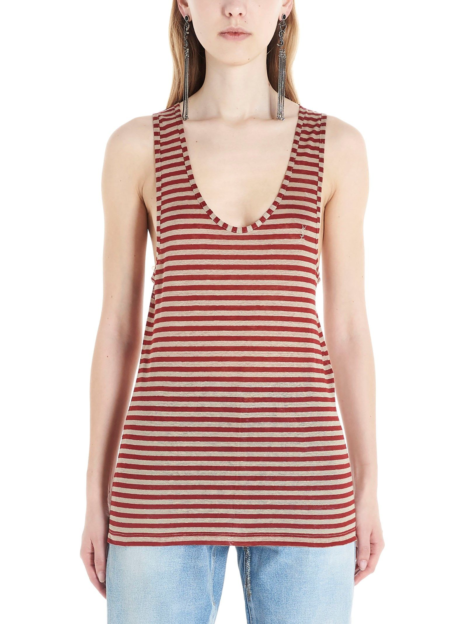 Saint Laurent Women's Multicolor Linen Tank Top