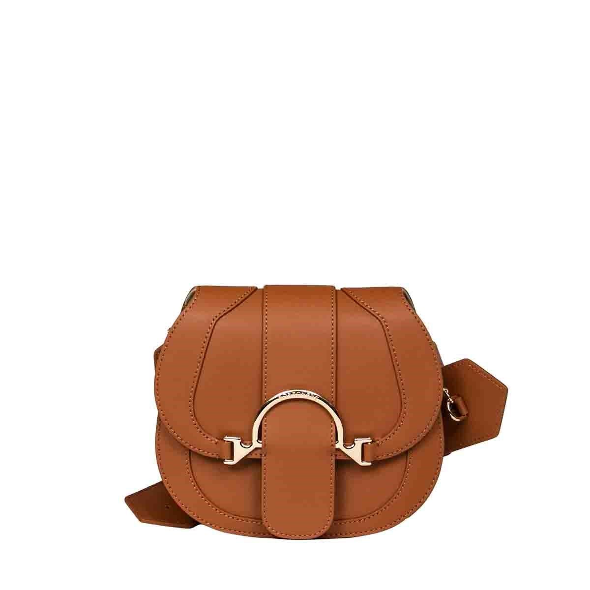 Borbonese BORBONESE WOMEN'S BROWN LEATHER SHOULDER BAG