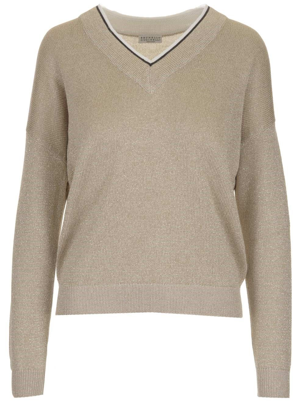 Brunello Cucinelli BRUNELLO CUCINELLI WOMEN'S BEIGE OTHER MATERIALS SWEATER