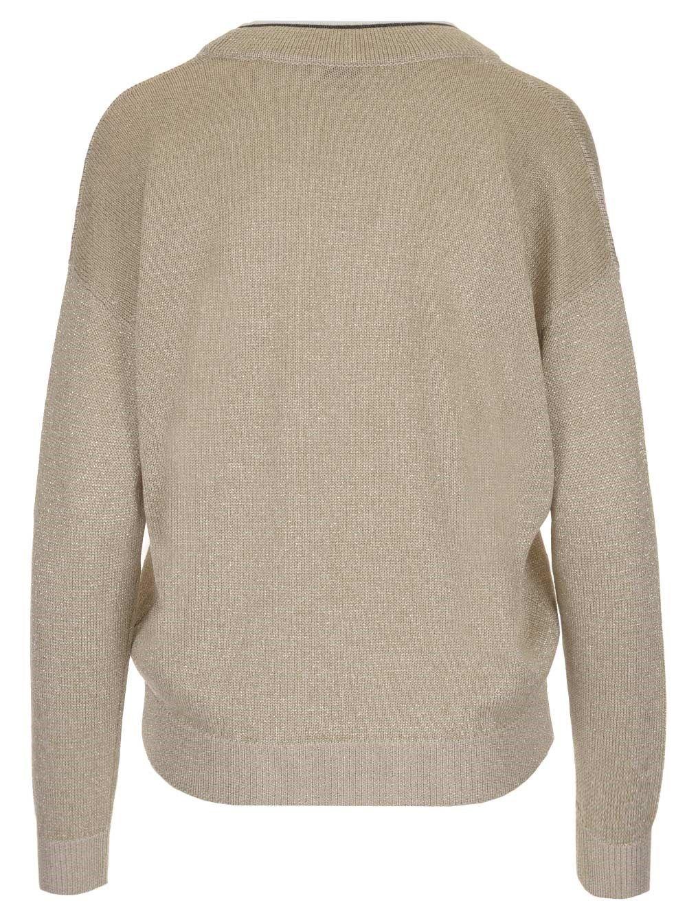 BRUNELLO CUCINELLI Sweaters BRUNELLO CUCINELLI WOMEN'S BEIGE OTHER MATERIALS SWEATER
