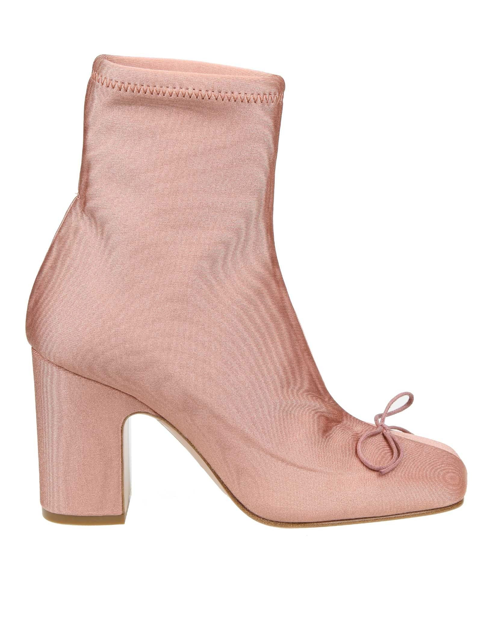 RED VALENTINO PINK FABRIC ANKLE BOOTS