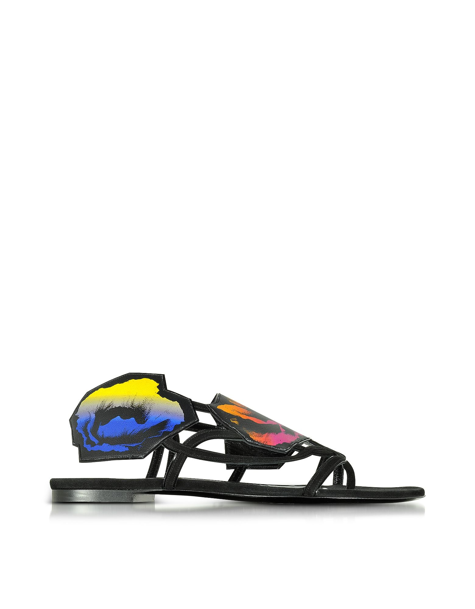 Pierre Hardy Multicolor Leather And Suede Poppy Flat Sandals In Black