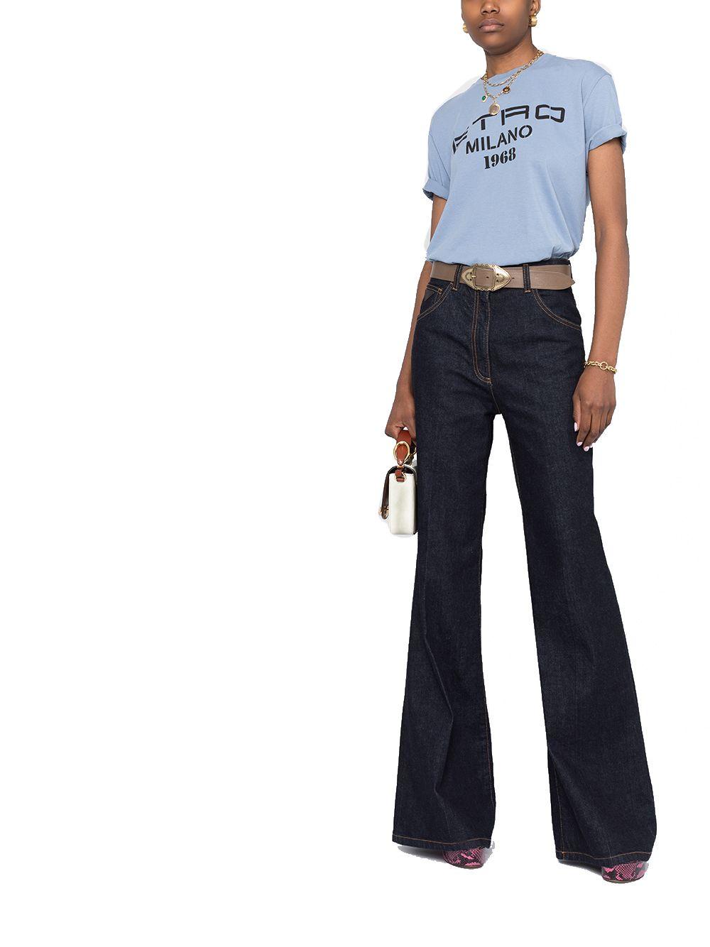 ETRO Cottons ETRO WOMEN'S LIGHT BLUE COTTON T-SHIRT