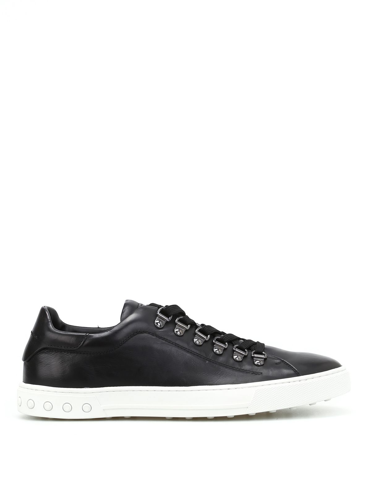 Tod's Men's Shoes Leather Trainers Sneakers In Black