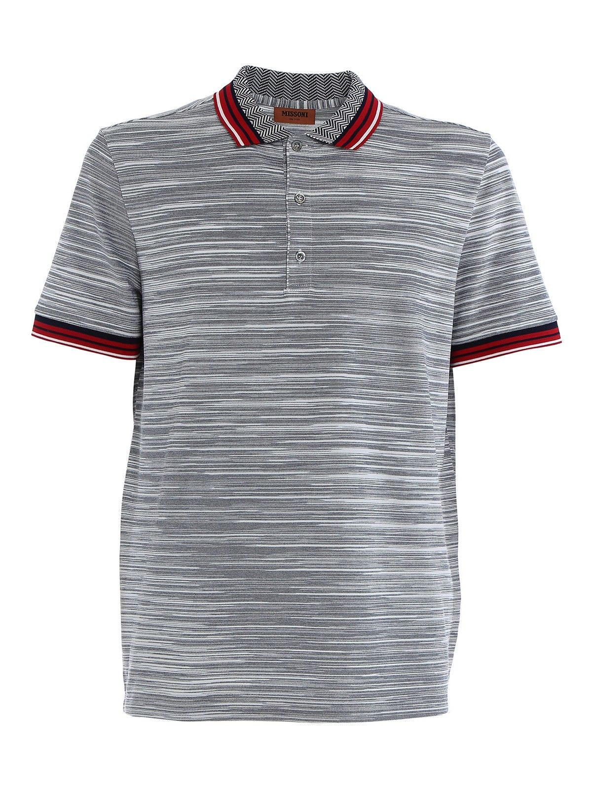 Missoni Cottons MISSONI MEN'S GREY COTTON POLO SHIRT