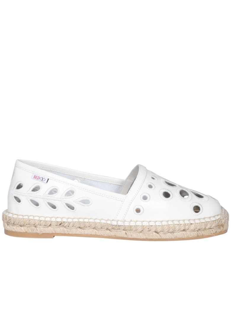 RED VALENTINO WHITE LEATHER ESPADRILLES