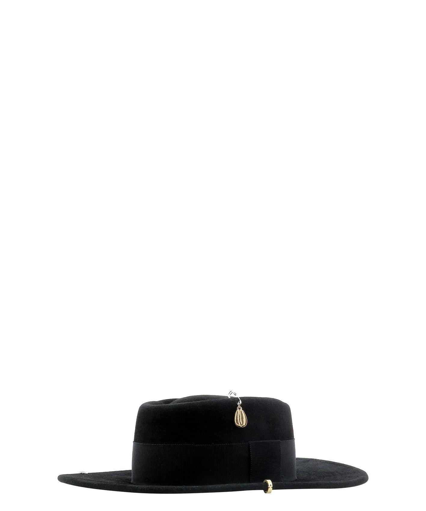RUSLAN BAGINSKIY Hats RUSLAN BAGINSKIY WOMEN'S BLACK FABRIC HAT
