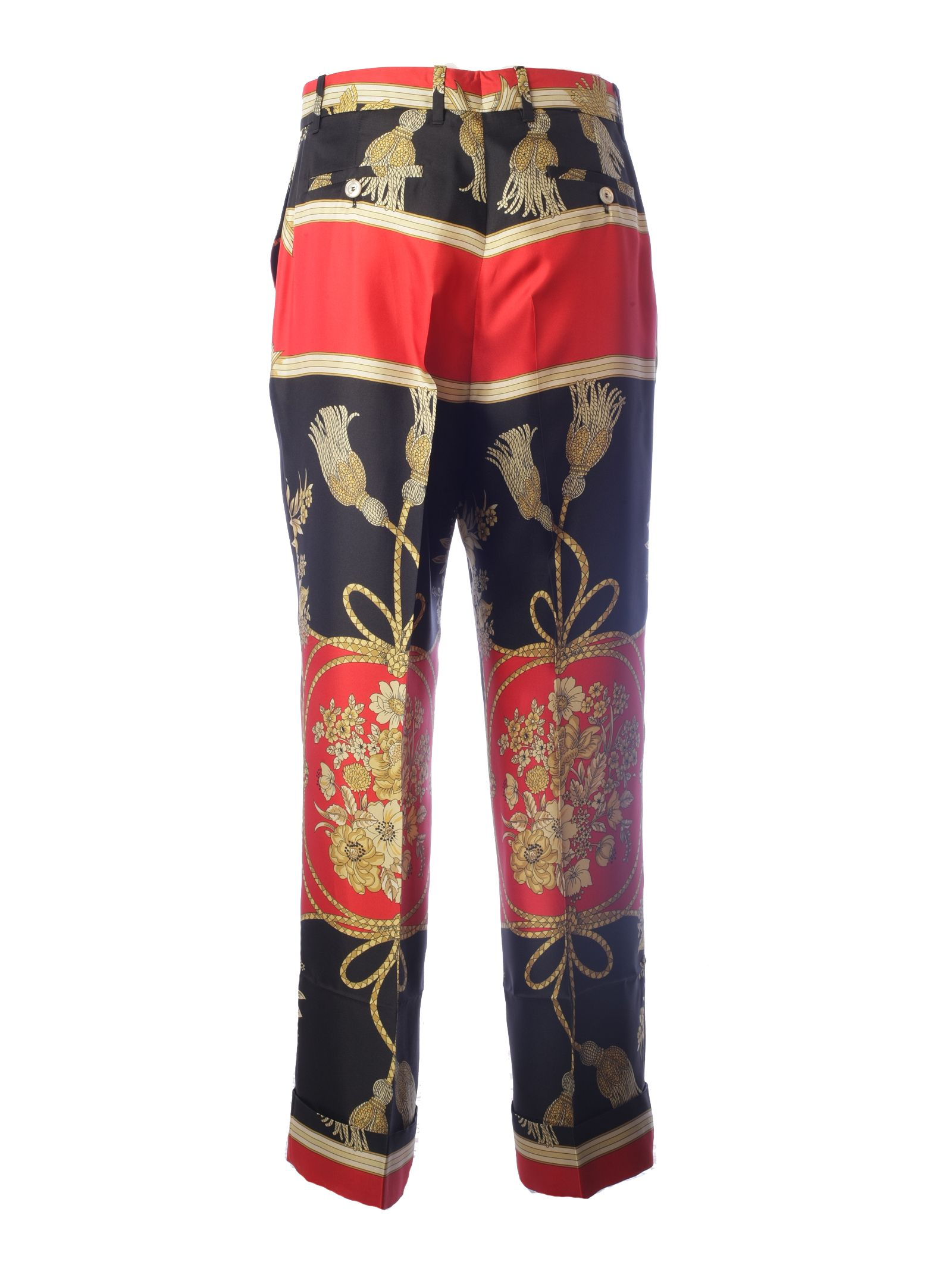 Gucci Flower And Tassel Silk Pants In Black In Multicolor