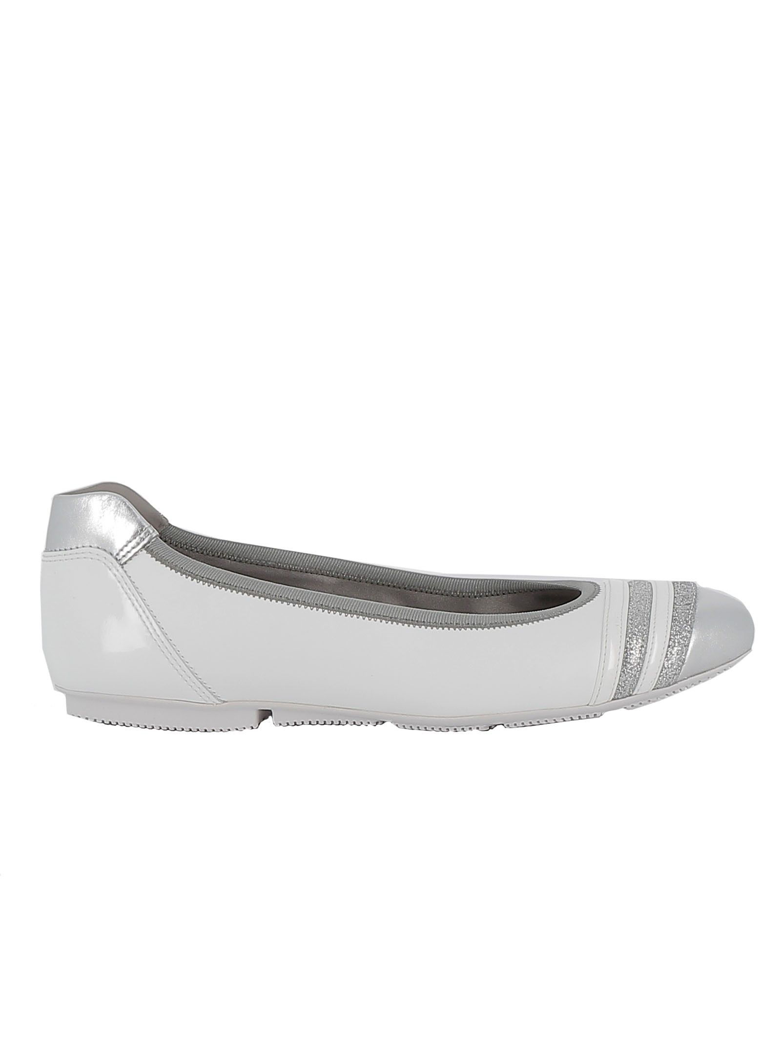 Hogan Wrap-h144 Leather Flats With Glitter Inserts In White