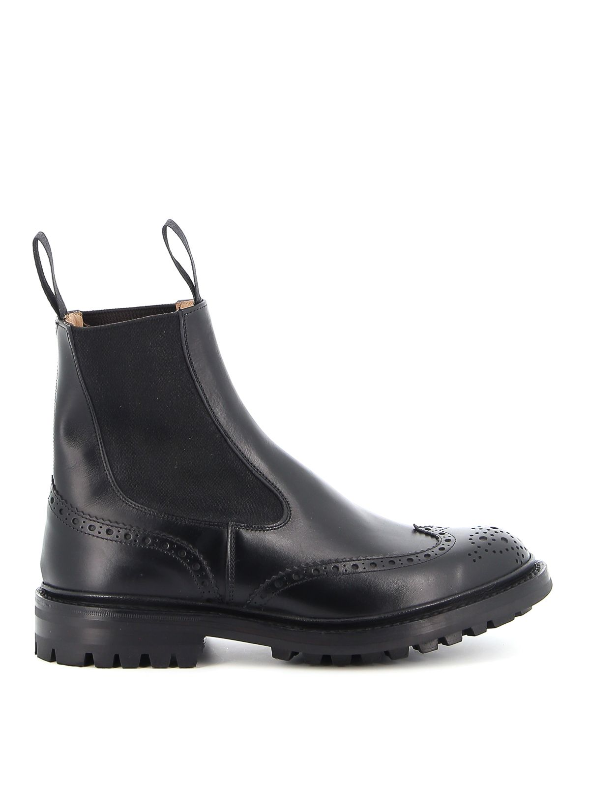 Tricker's TRICKER'S MEN'S BLACK LEATHER ANKLE BOOTS
