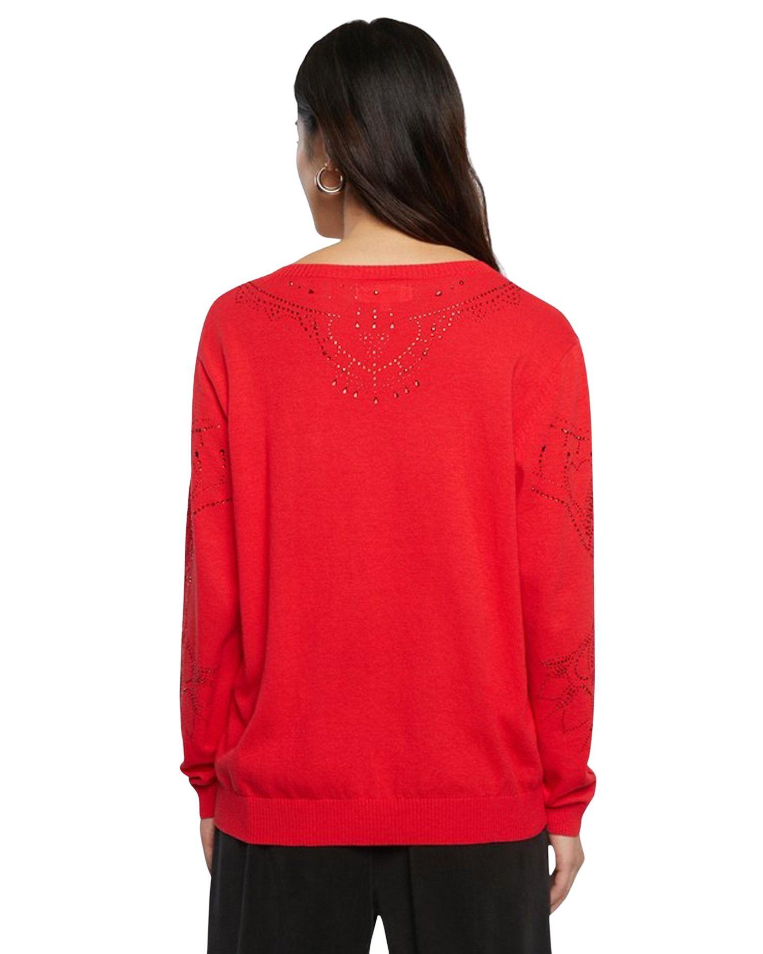 DESIGUAL Cottons DESIGUAL WOMEN'S RED COTTON SWEATER