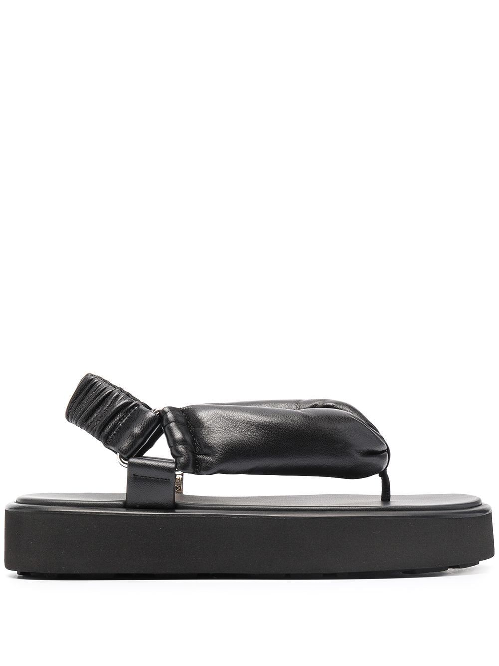 Miu Miu MIU MIU WOMEN'S BLACK LEATHER SANDALS