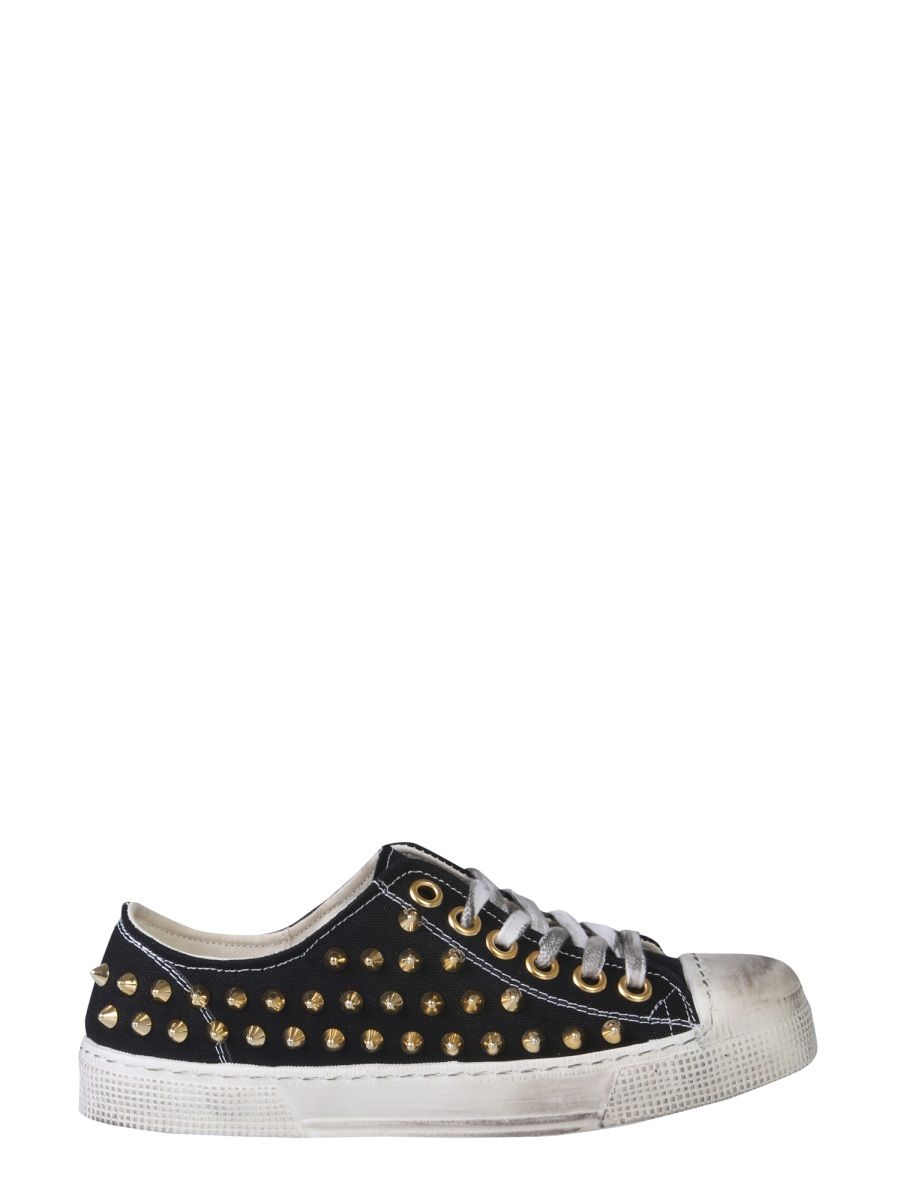 Gienchi BLACK LEATHER SNEAKERS