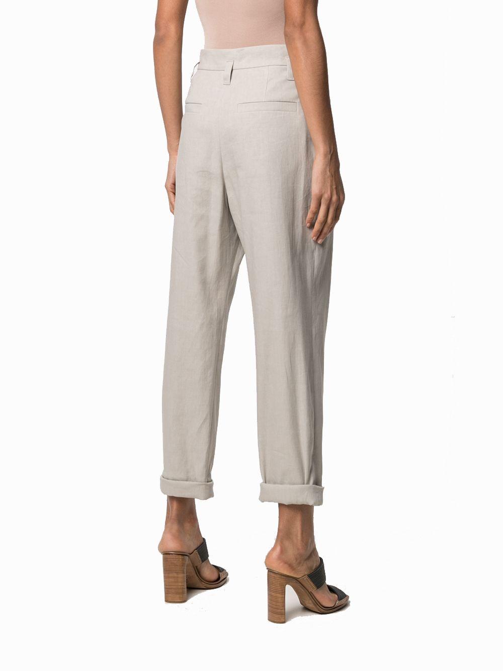 BRUNELLO CUCINELLI Pants BRUNELLO CUCINELLI WOMEN'S GREY LINEN PANTS