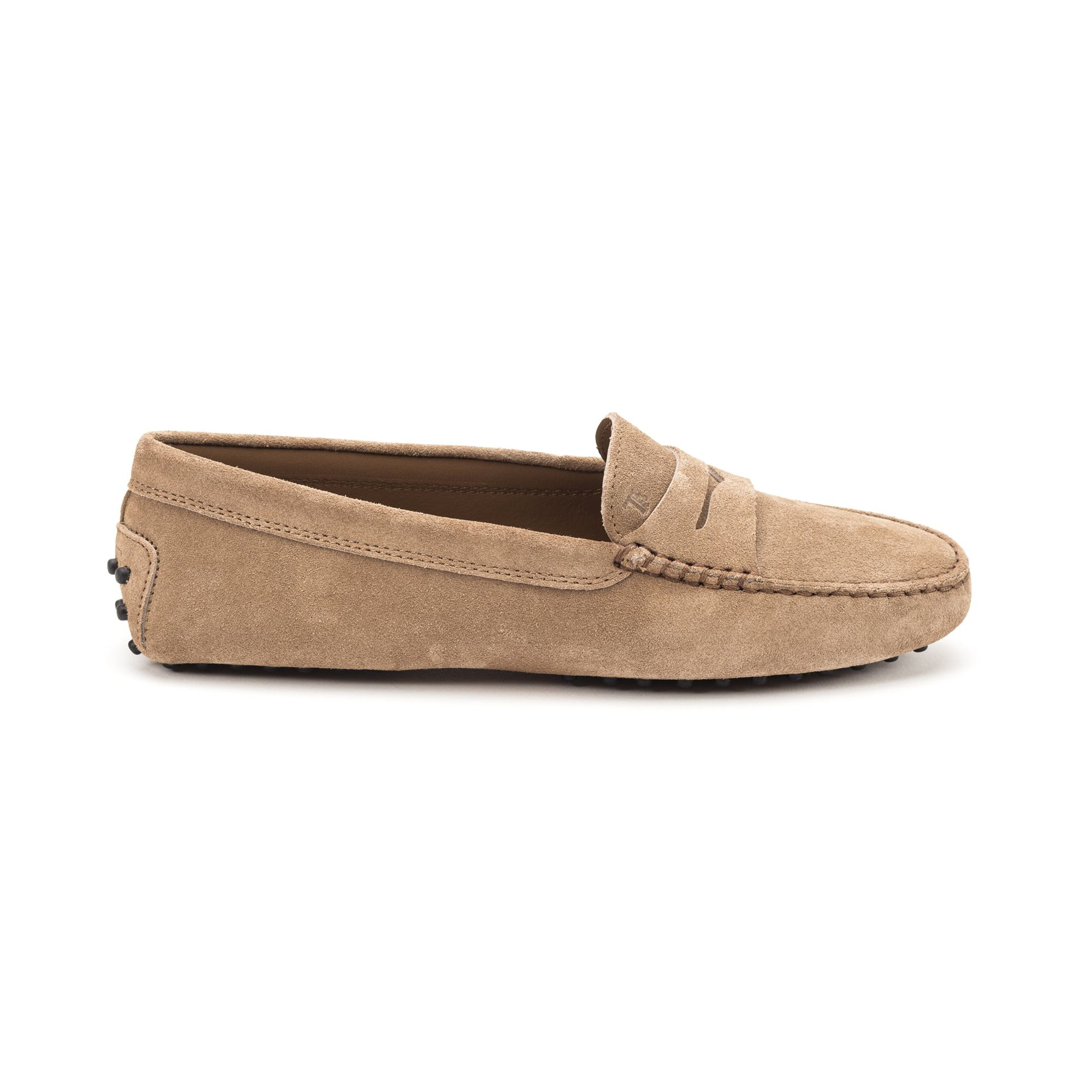 Tod's Women's Suede Loafers Moccasins Gommino In Beige