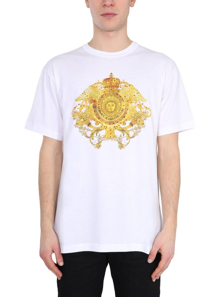 Versace Jeans VERSACE JEANS MEN'S WHITE OTHER MATERIALS T-SHIRT