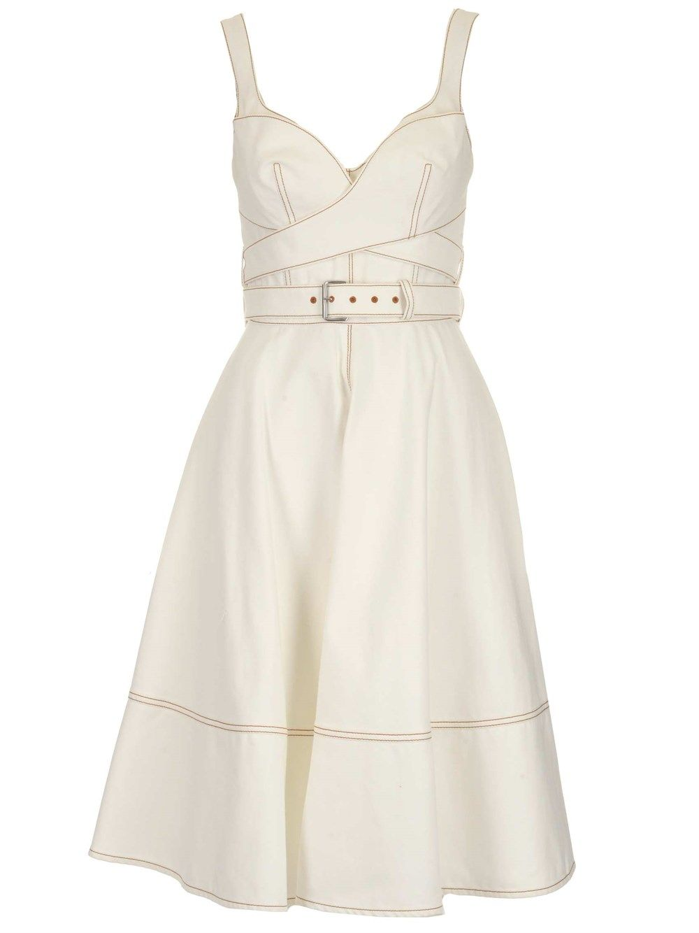 Alexander Mcqueen ALEXANDER MCQUEEN WOMEN'S WHITE OTHER MATERIALS DRESS