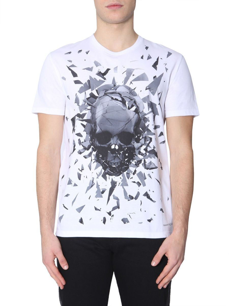 a45c0c3f88d9a0 Alexander Mcqueen Shattered Skull Printed Cotton T-Shirt In White ...