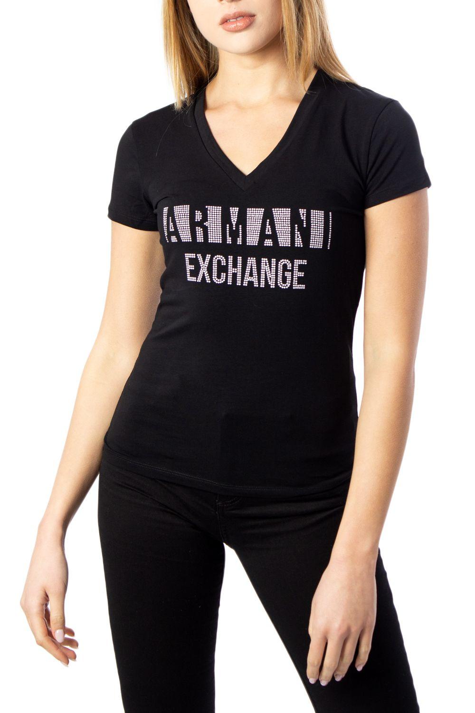 Armani Exchange ARMANI EXCHANGE WOMEN'S BLACK COTTON T-SHIRT
