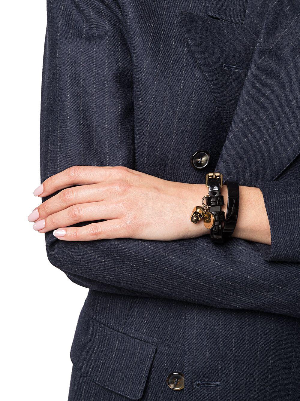 ALEXANDER MCQUEEN Bracelets ALEXANDER MCQUEEN WOMEN'S BLACK LEATHER BRACELET