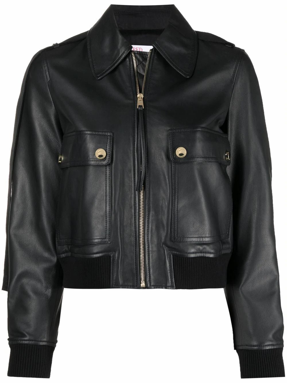 Red Valentino Leathers RED VALENTINO WOMEN'S BLACK LEATHER OUTERWEAR JACKET