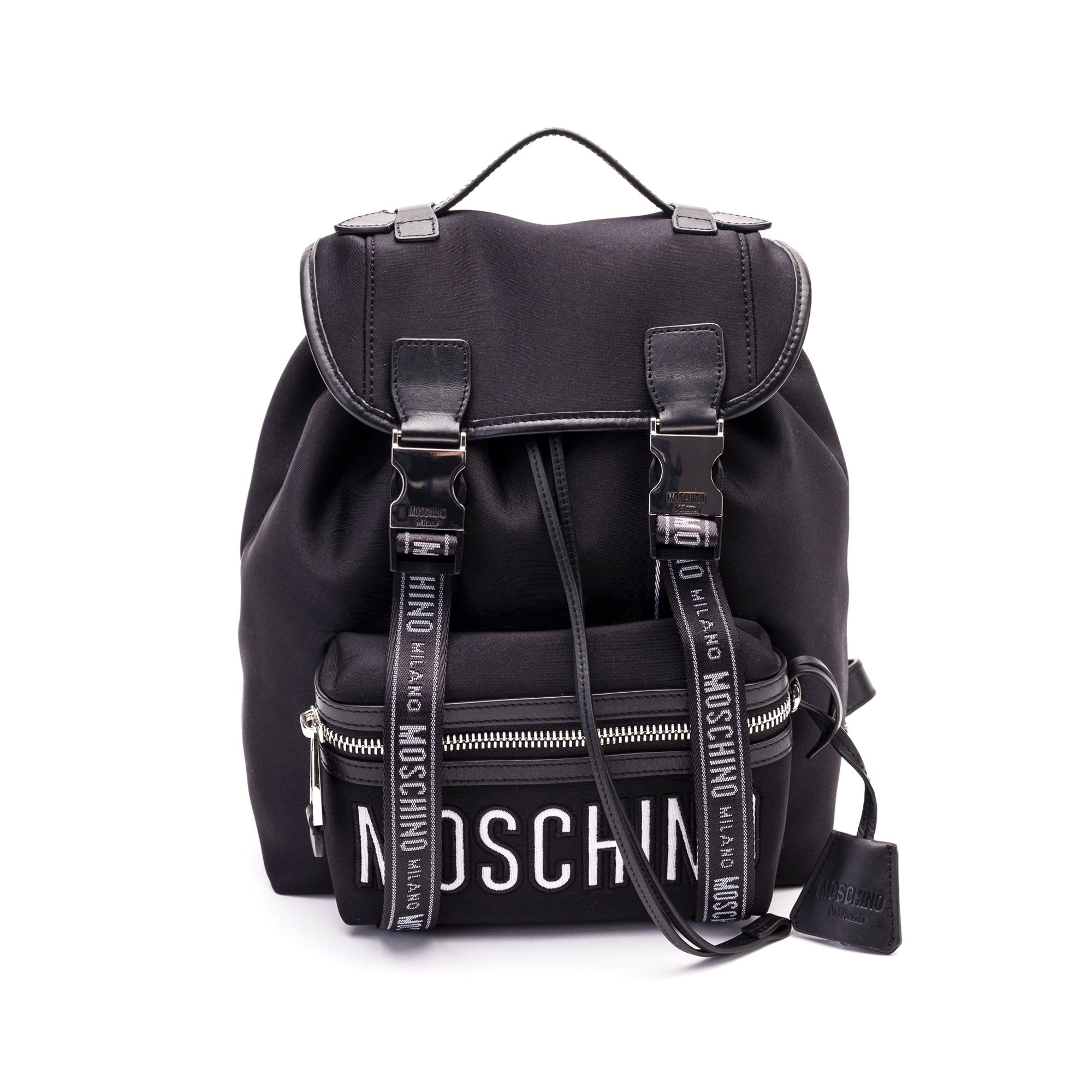 Moschino Black Leather Backpack