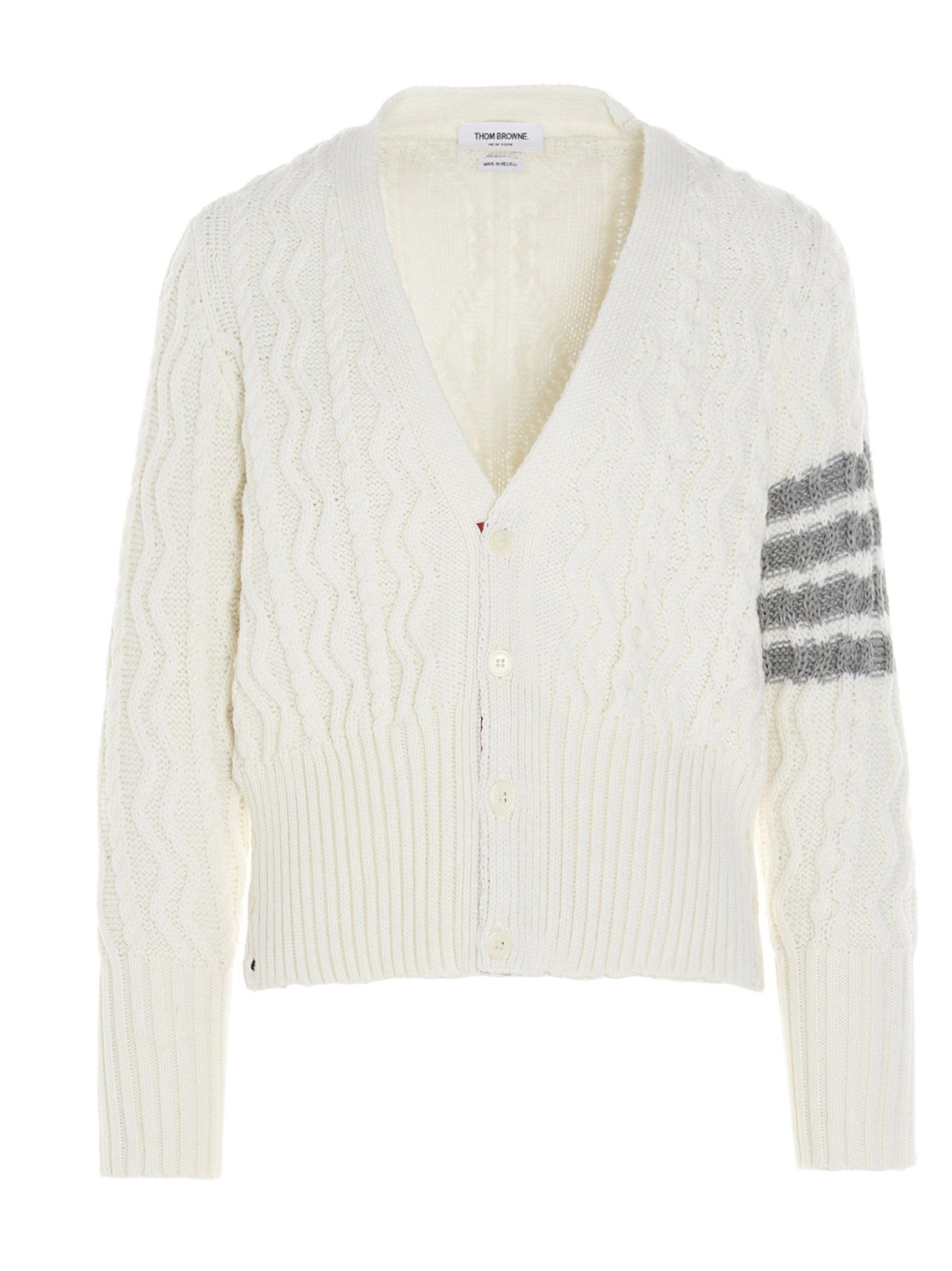 Thom Browne THOM BROWNE MEN'S WHITE WOOL CARDIGAN