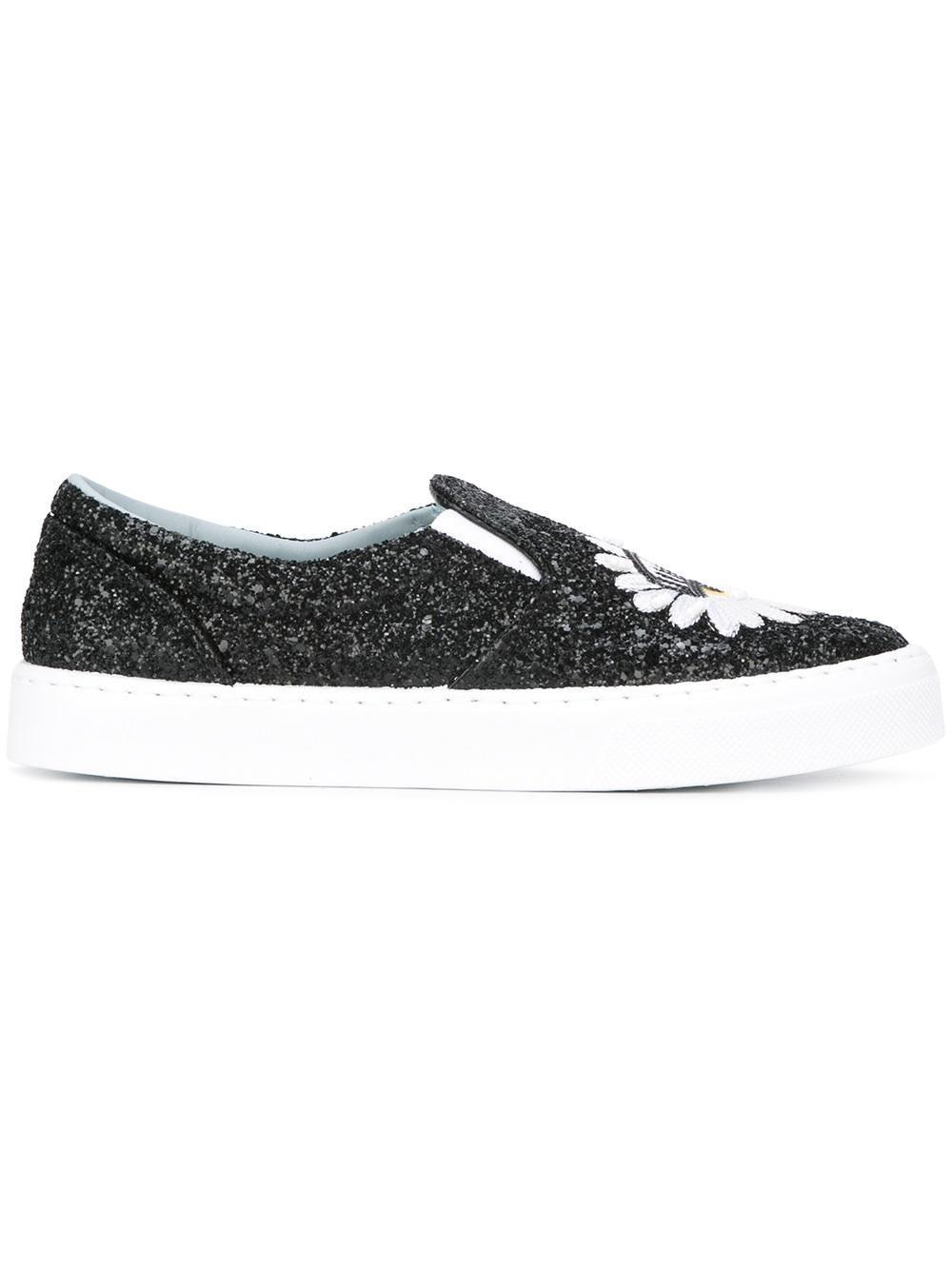 Chiara Ferragni Black Leather Slip On Sneakers