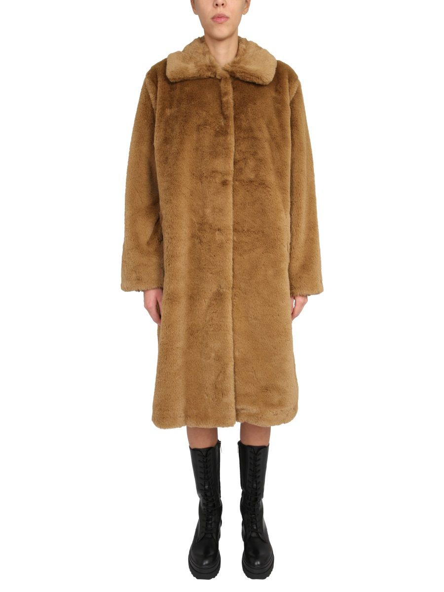Stand Studio STAND WOMEN'S BROWN POLYESTER COAT