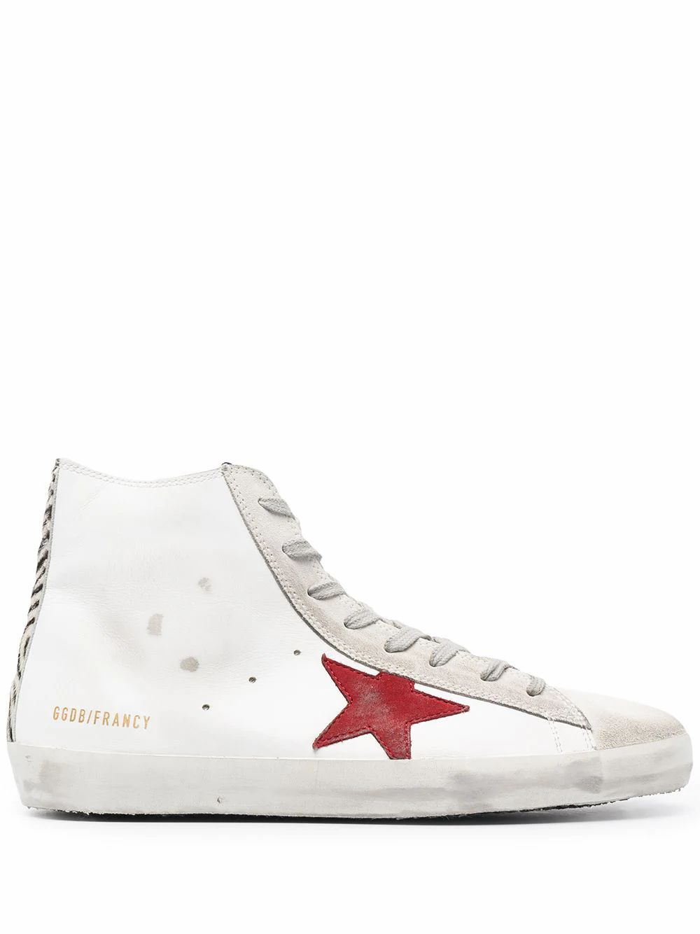 Golden Goose GOLDEN GOOSE MEN'S WHITE LEATHER HI TOP SNEAKERS