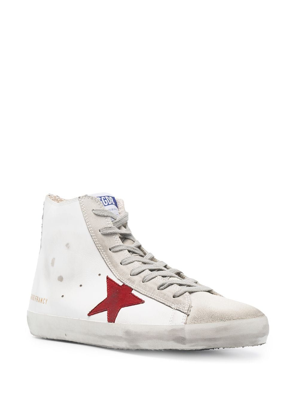 GOLDEN GOOSE Leathers GOLDEN GOOSE MEN'S WHITE LEATHER HI TOP SNEAKERS