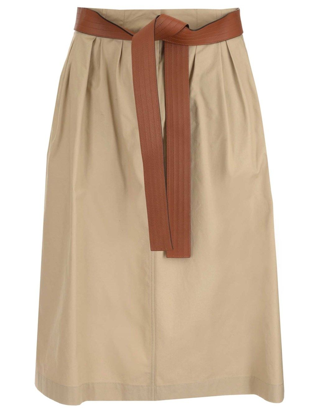Loewe Cottons LOEWE WOMEN'S BEIGE COTTON SKIRT