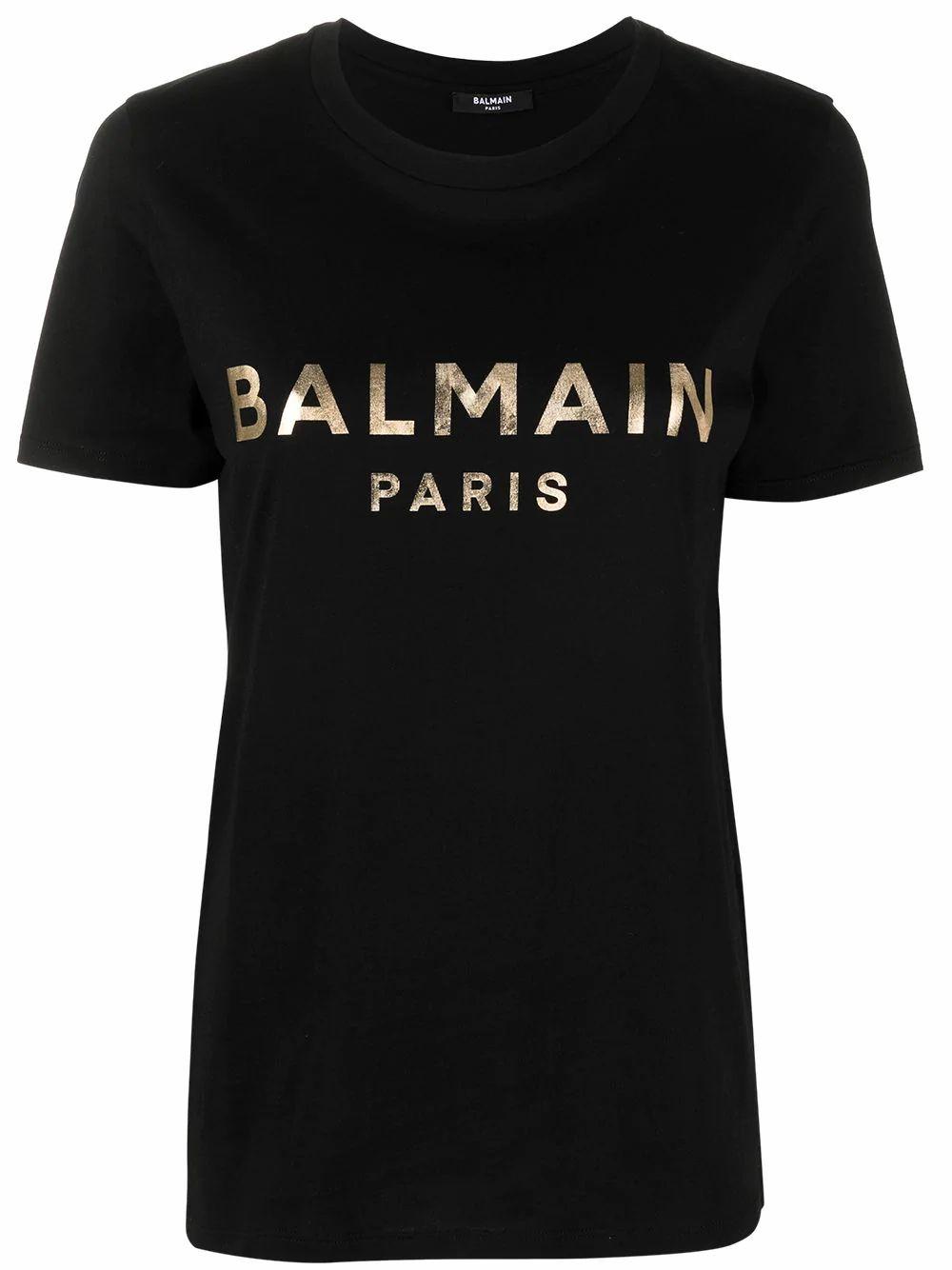 Balmain Cottons BALMAIN WOMEN'S BLACK COTTON T-SHIRT
