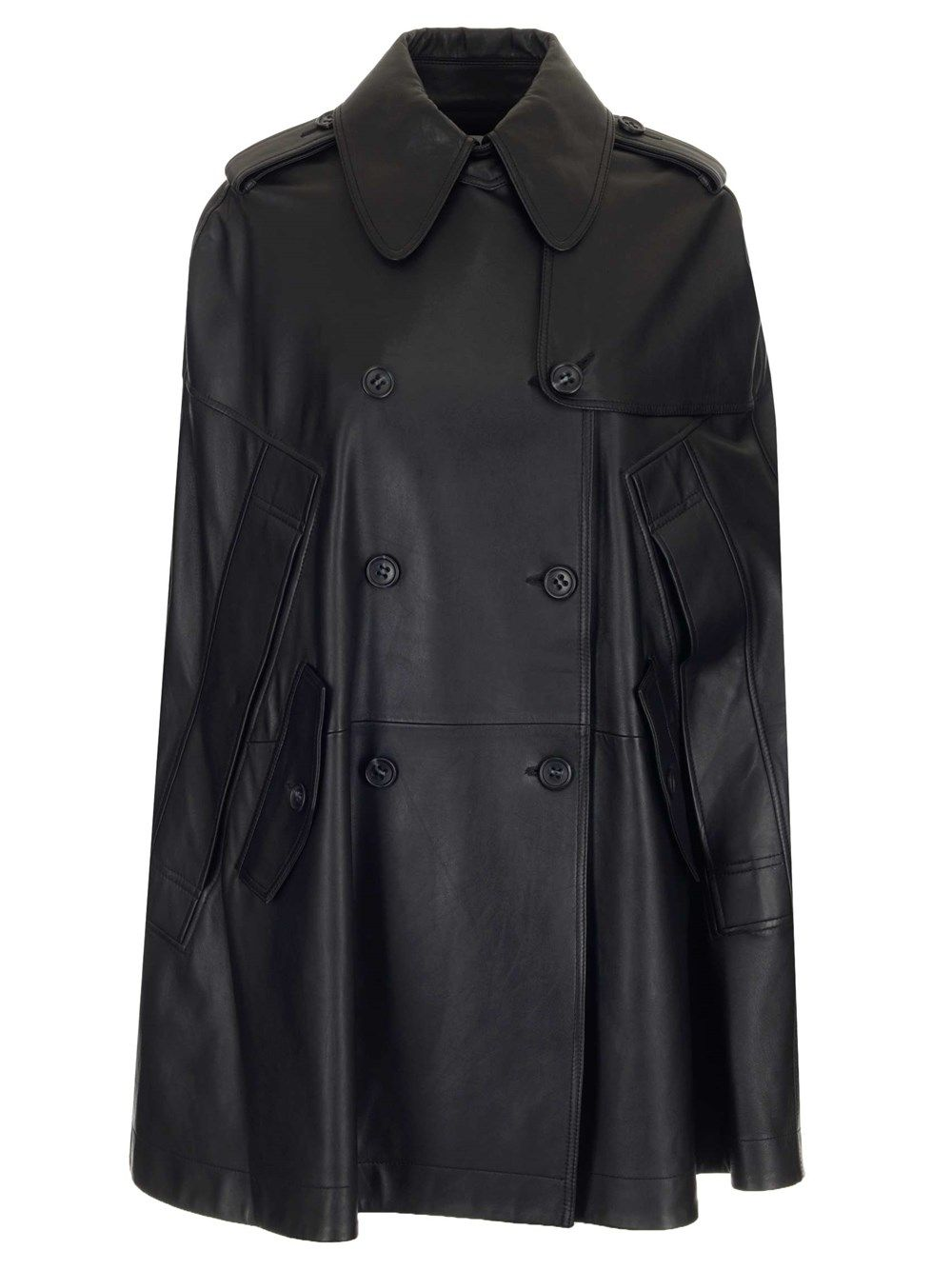 Red Valentino Leathers RED VALENTINO WOMEN'S BLACK LEATHER COAT